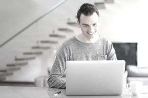Man checking credit report online