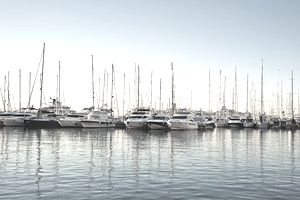 View of a marina full of boats on a calm morning