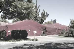Termite tent on house