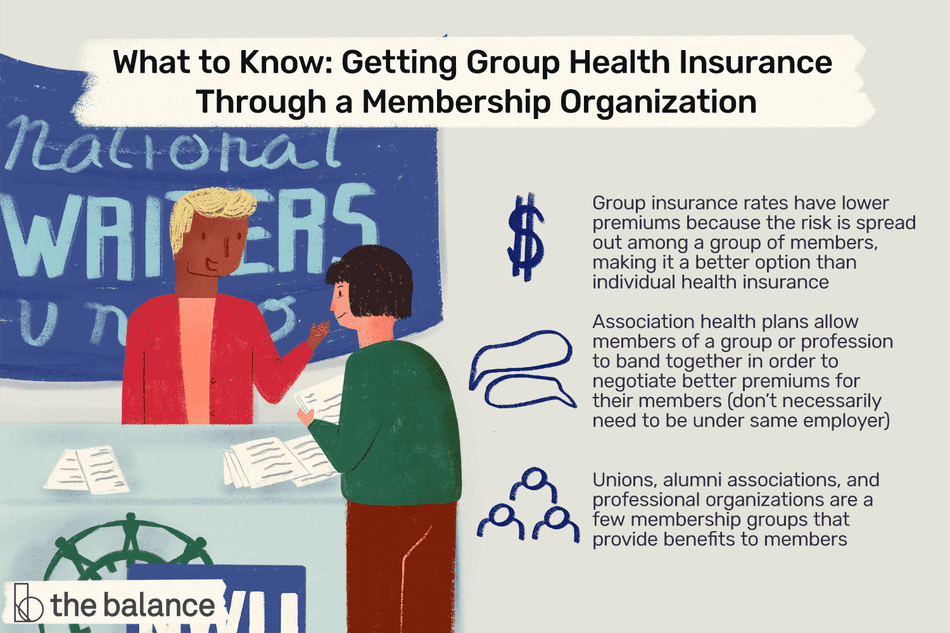 "Image shows two people speaking over a table; one person is asking for information from the other. Text reads: ""What to know: getting group health insurance through a membership organization: Group insurance rates have lower premiums because the risk is spread out among a group of members, making it a better option than individual health insurance. Association health plans allow members of a group or profession to band together in order to negotiate better premiums for their members (don't necessarily need to be under same employer); Unions, alumni associations, and professional organizations are a few membership groups that provide benefits to members"""