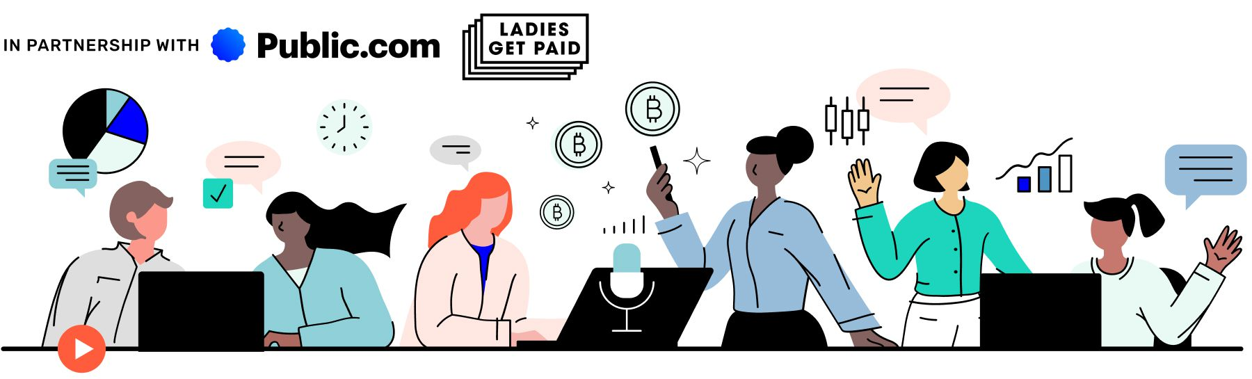 illustration of women talking, surrounded by images of charts, graphs, money symbols