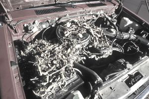 The open hood of a car exposes a rat's nest in the engine compartment.