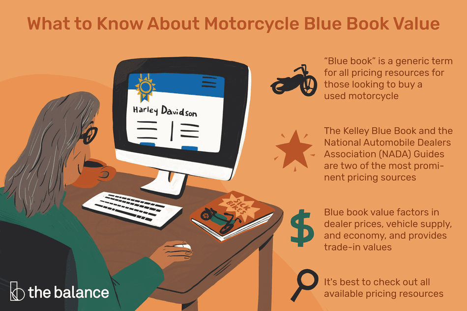 "What to Know About Motorcycle Blue Book Value: ""Blue Book"" is a generic term for all pricing resources for those looking to buy a used motorcycle The Kelley Blue Book and the National Automobile Dealers Association (NADA) Guides are two of the most prominent pricing sources Blue book value factors in dealer prices, vehicle supply, economy, and provides trade-in values It's best to check out all available pricing resources"