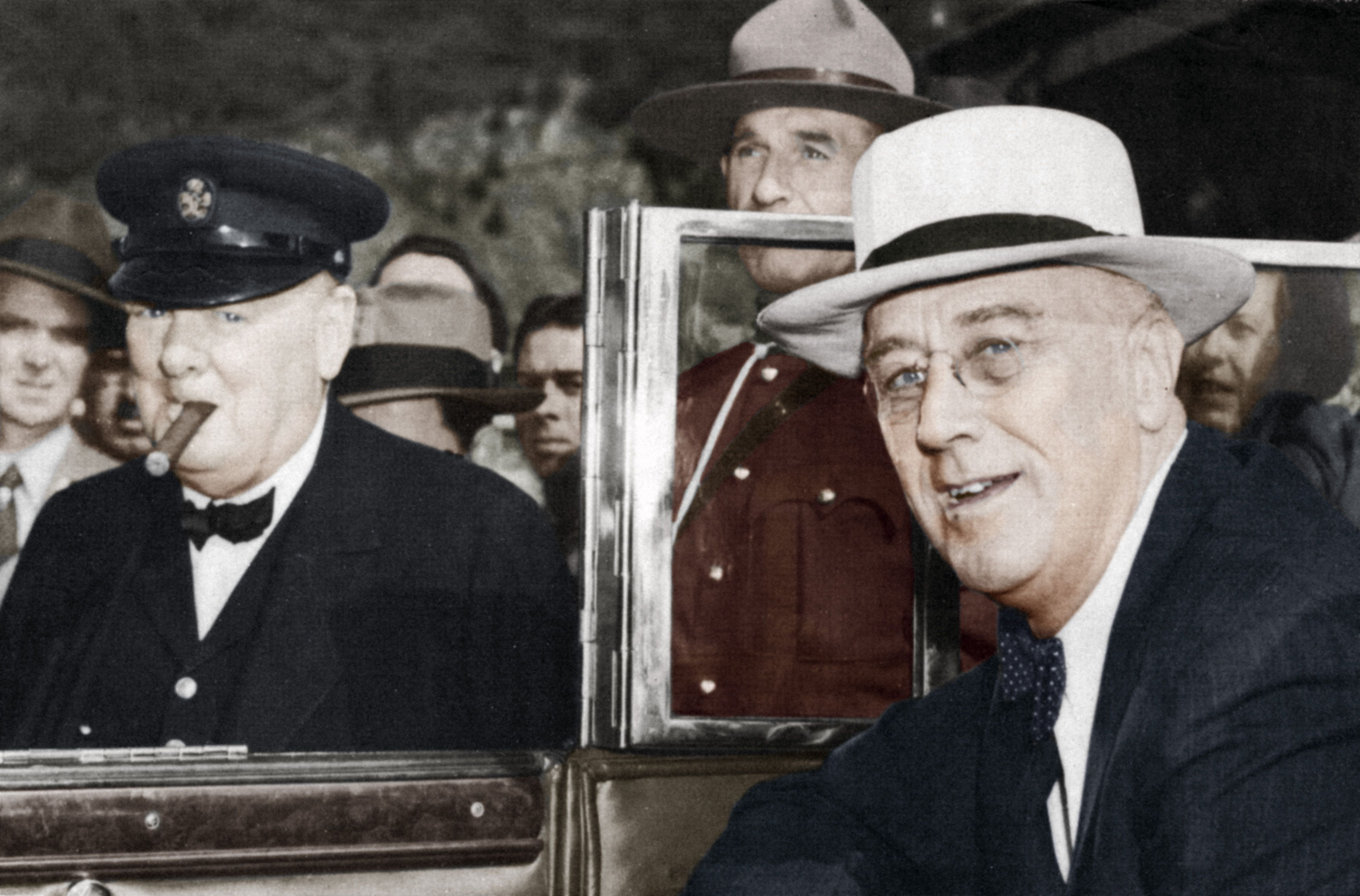 Franklin D Roosevelt and Winston Churchill meeting in Quebec, Canada, 1944.