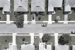 Aerial view of Rows of houses in a suburban setting