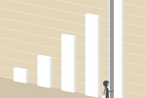 Illustration of a businesswoman opening the tallest bar in a graph like it's a door, which represents capital gains