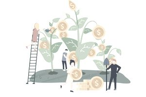 Illustration of various characters tending to a tree growing large gold coins, representing long term investing and capital gains tax rate.