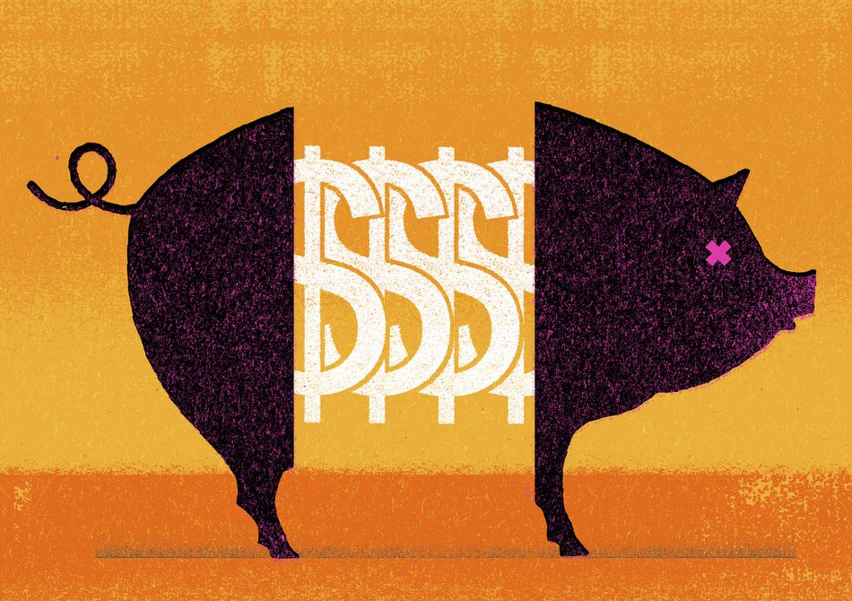 A Piggy with dollar symbols in its center