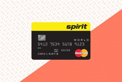 The face of the Spirit Airlines Mastercard credit card on an orange and orange dot background.