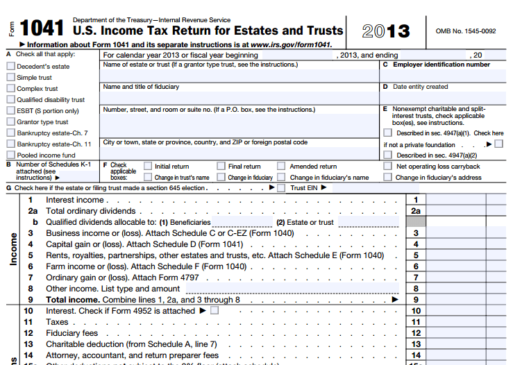 When To File Irs Form 1041 For A Revocable Living Trust