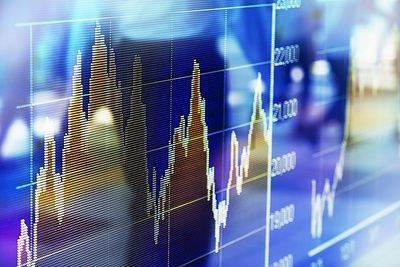 Reflection of stock market index in window
