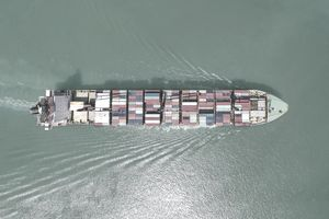 Aerial View of Cargo Ship With Containers