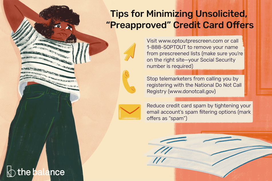 """Tips for minimizing unsolicited preapproved credit card offers: Visit www.optoutprescreen.com or call 1-888-5OPTOUT to remove your name from prescreened lists (make sure you're on the right site—your Social Security number is required) Stop telemarketers from calling you by registering with the National Do Not Call Registry (www.donotcall.gov) Reduce credit card spam by tightening your email account's spam filtering options (mark offers as """"spam"""")"""