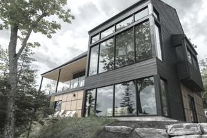 Beautiful modern house in the forest that has a jumbo mortgage