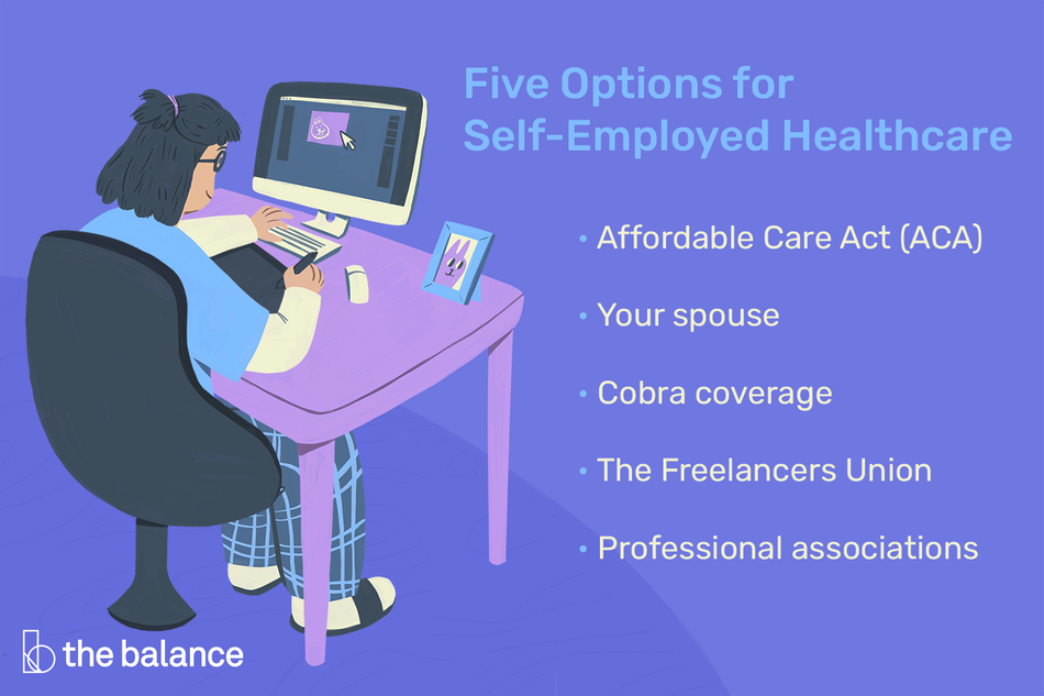 """Image shows a girl on the computer in pajamas. Text reads: """"Five options for self-employed healthcare: affordable care act (ACA); your spouse; cobra coverage; the freelancers union; professional associations"""""""
