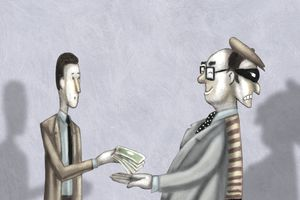 A man taking a 401(k) loan from a two faced business person.