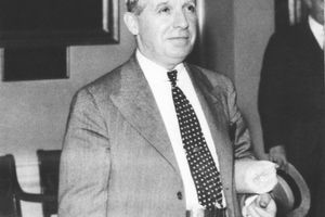 Charles Ponzi around the time of his release from jail, Boston, Massachusetts, 1934.
