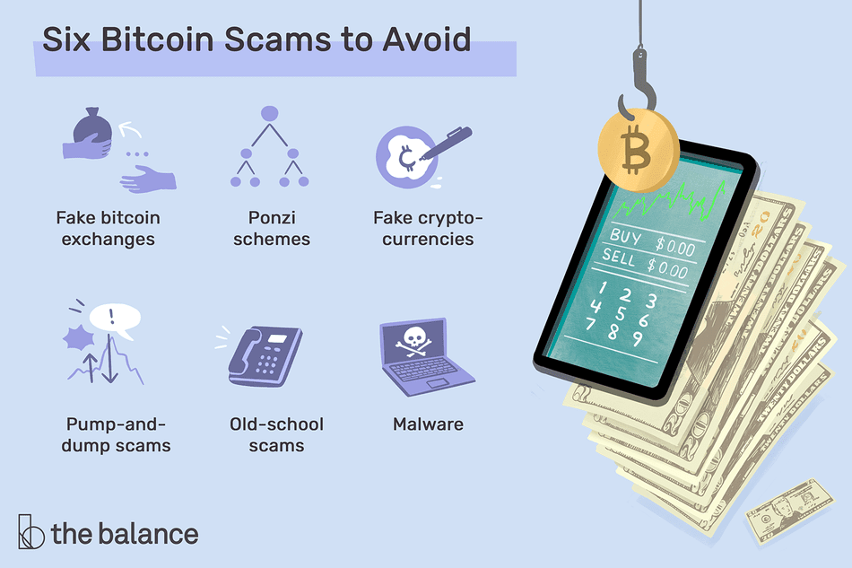 six bitcoin scams to avoid: fake bitcoin exchanges, ponzi schemes, face cryptocurrencies, pump-and-dump scams, old-school scams, malware