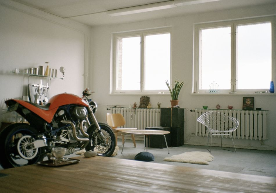 A motorbike inside of an apartment