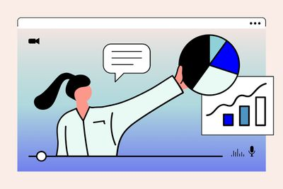 illustration of woman on an internet video, gesturing to charts and graphs