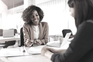 A client consults with a financial advisor