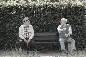 Two friends sitting on a park bench