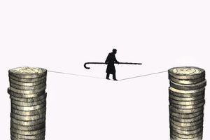 An elderly man walking tightrope between stacks of retirement savings