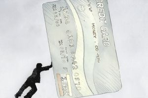 Cartoon man pushed an over sized credit card indicating a large credit debt.