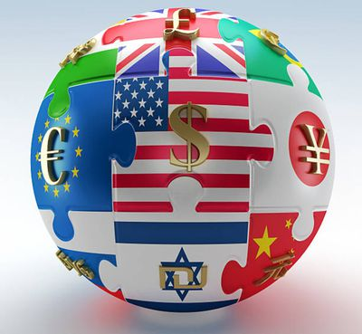 Countries' flags as puzzle parts with currency symbols on them mapped to a sphere representing the world economies.