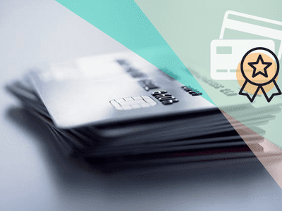 credit cards in a stack with graphic overlay and winner's ribbon icon