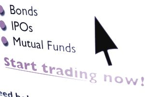 Bonds, ipos, mutual funds on computer screen to start trading now