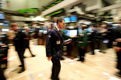 Stock trader in stock exchange