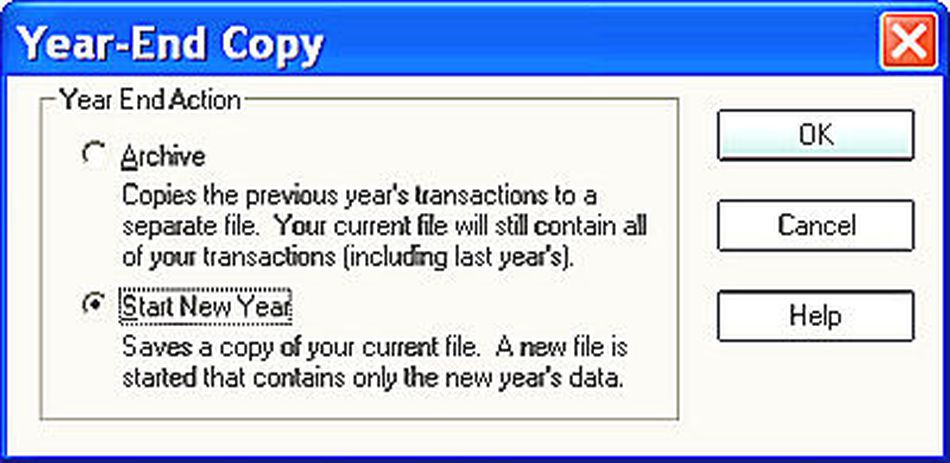 Quicken New Year file option
