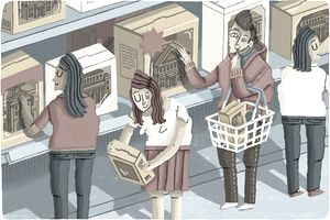 Illustration of students choosing university from a store shelf display