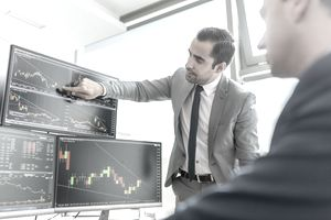 Stockbroker shows client stock charts on computer.