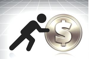 Symbol of man pushing a gold coin
