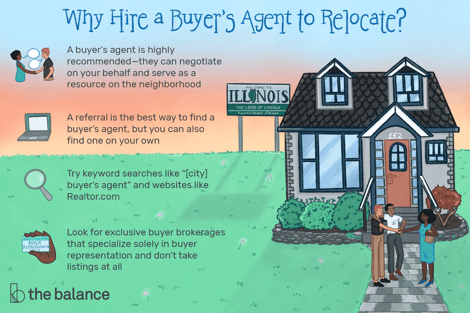 "Image shows a queer couple shaking hands with a buyer's agent. Text reads: ""Why hire a buyer's agent to relocate? A buyer's agent is highly recommended—they can negotiate on your behalf and serve as a resource on the neighborhood; A referral is the best way to find a buyer's agent, but you can also find one on your own. Try keyword searches like ""[city] buyer's agent"" and websites like Realtor.com; look for exclusive buyer brokerages that specialize solely in buyer representation and don't take listings at all"""
