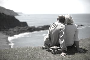 Senior couple looking out to sea