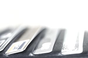 Credit cards protruding from wallet