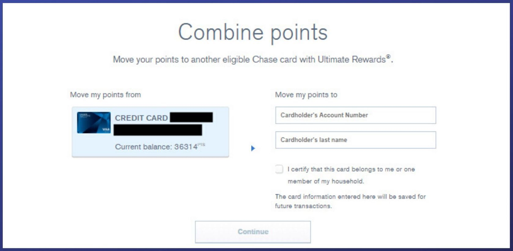 Combining Chase Ultimate Rewards points