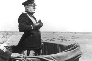Italian dictator Benito Mussolini (1883 - 1945) surveys the new Caselle Airport during a visit to Turin, 16th May 1939