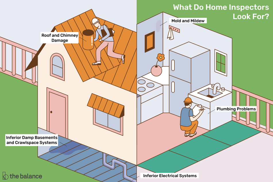 Illustration of home inspector at work
