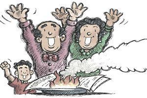 Illustration of a husband, wife, and son rejoicing as their mortgage burns, symbolizing it is paid off early