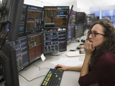 Young woman analyzing commodities trading