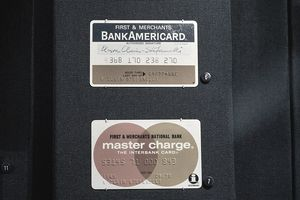 A range of credit cards are on display during the grand opening of National Museum Of American History's Innovation Wing at the National Museum Of American History.