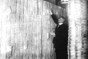 Stacks of money being stockpiled in Germany in the early twentieth century.