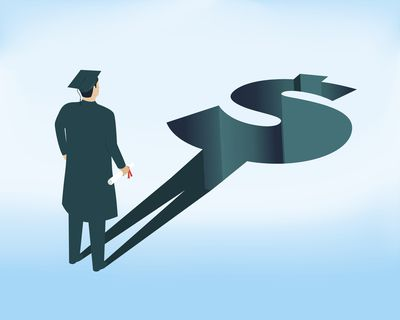 illustration of a college graduate casting a growing dollar sign shadow