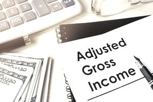 """A pair of glasses, a calculator, several 100 dollar bills, and an """"Adjusted Gross Income"""" document"""