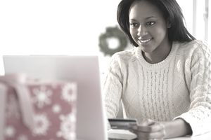 African-American woman shopping online