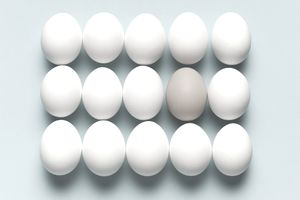 15 eggs representing different types of accounts to be consolidated.